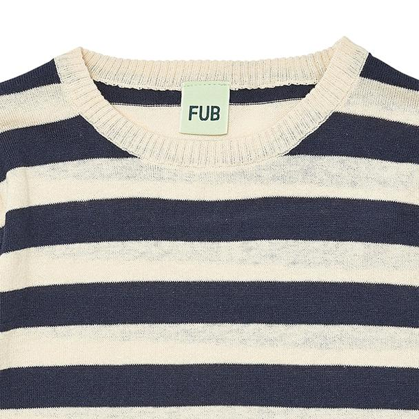 Fine oversize 100% organic cotton GOTS sweater, navy blue and ecru stripes