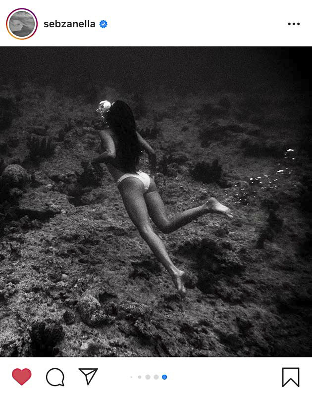Captura de pantalla de la cuenta de Instagram de @sebzanella. Un fotógrafo que nos hace viajar al mar y sobre todo surfear con sus imágenes.