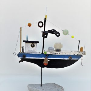 upcycling art fishing boat