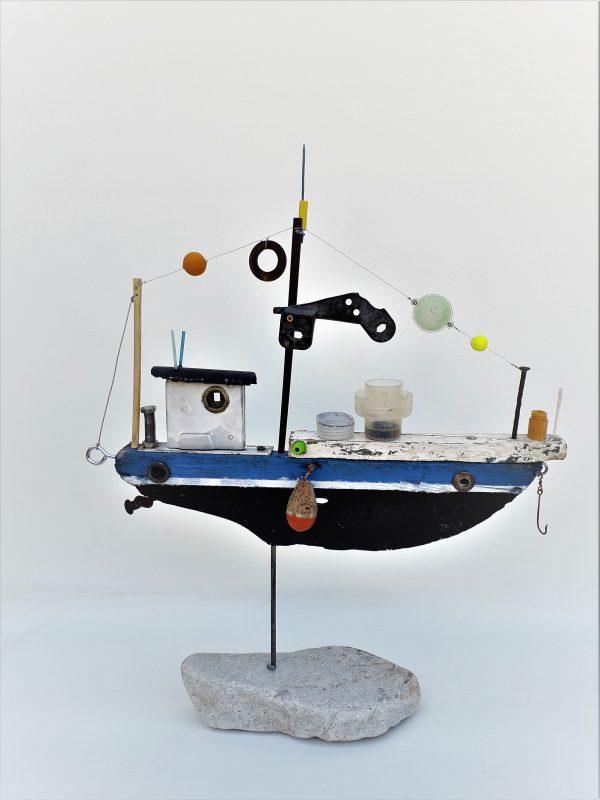 upcycling art fishing boat