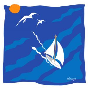 lámina ilustración barco Three Knots mag
